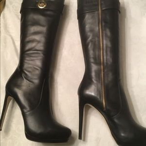 Michael Kors blk leather fashion boots 10